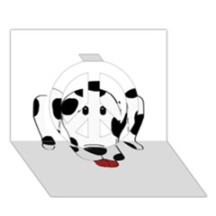 Dalmation cartoon head Peace Sign 3D Greeting Card (7x5)