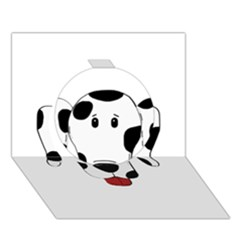 Dalmation cartoon head Circle 3D Greeting Card (7x5)
