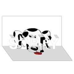 Dalmation cartoon head SORRY 3D Greeting Card (8x4)