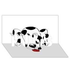 Dalmation cartoon head HUGS 3D Greeting Card (8x4)