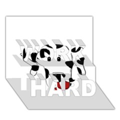 Dalmation cartoon head WORK HARD 3D Greeting Card (7x5)
