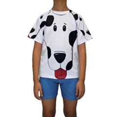 Dalmation cartoon head Kids  Short Sleeve Swimwear