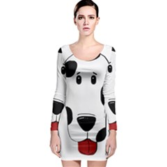 Dalmation cartoon head Long Sleeve Bodycon Dress
