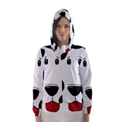 Dalmation cartoon head Hooded Wind Breaker (Women)