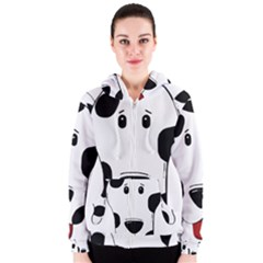 Dalmation cartoon head Women s Zipper Hoodie