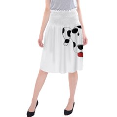 Dalmation cartoon head Midi Beach Skirt