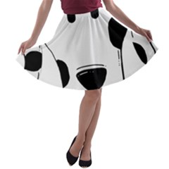 Dalmation cartoon head A-line Skater Skirt