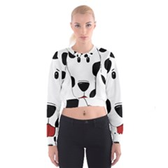Dalmation cartoon head Women s Cropped Sweatshirt