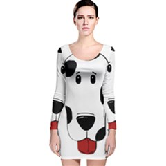 Dalmation cartoon head Long Sleeve Velvet Bodycon Dress