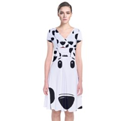 Dalmation cartoon head Short Sleeve Front Wrap Dress