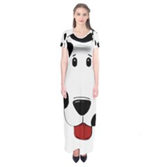 Dalmation cartoon head Short Sleeve Maxi Dress