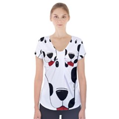 Dalmation cartoon head Short Sleeve Front Detail Top