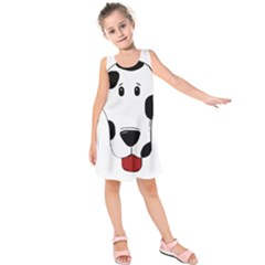 Dalmation cartoon head Kids  Sleeveless Dress