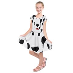 Dalmation cartoon head Kids  Short Sleeve Dress