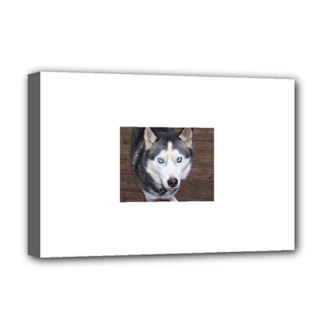 Siberian Husky Blue Eyed Deluxe Canvas 18  x 12