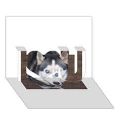 Siberian Husky Blue Eyed I Love You 3D Greeting Card (7x5)