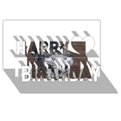 Siberian Husky Blue Eyed Happy Birthday 3D Greeting Card (8x4)