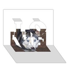 Siberian Husky Blue Eyed LOVE 3D Greeting Card (7x5)