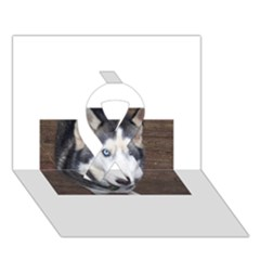 Siberian Husky Blue Eyed Ribbon 3D Greeting Card (7x5)