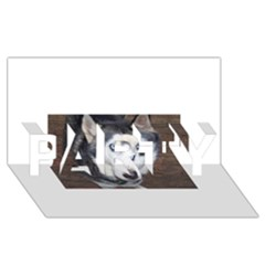 Siberian Husky Blue Eyed PARTY 3D Greeting Card (8x4)