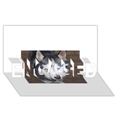 Siberian Husky Blue Eyed ENGAGED 3D Greeting Card (8x4)