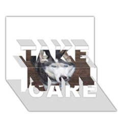 Siberian Husky Blue Eyed TAKE CARE 3D Greeting Card (7x5)
