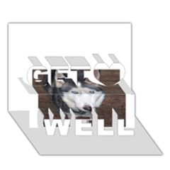 Siberian Husky Blue Eyed Get Well 3D Greeting Card (7x5)