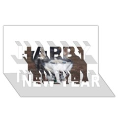 Siberian Husky Blue Eyed Happy New Year 3D Greeting Card (8x4)