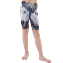 Siberian Husky Blue Eyed Kids  Mid Length Swim Shorts