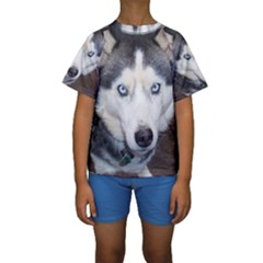 Siberian Husky Blue Eyed Kids  Short Sleeve Swimwear
