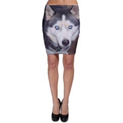 Siberian Husky Blue Eyed Bodycon Skirt