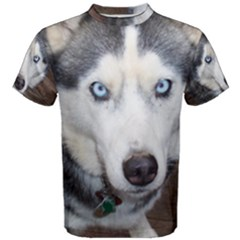 Siberian Husky Blue Eyed Men s Cotton Tee