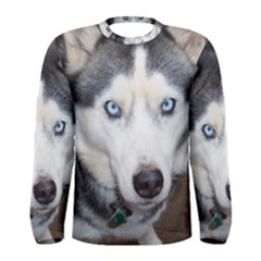 Siberian Husky Blue Eyed Men s Long Sleeve Tee