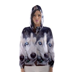 Siberian Husky Blue Eyed Hooded Wind Breaker (Women)