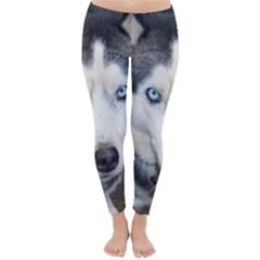 Siberian Husky Blue Eyed Classic Winter Leggings