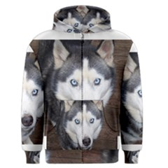 Siberian Husky Blue Eyed Men s Zipper Hoodie
