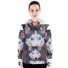 Siberian Husky Blue Eyed Women s Zipper Hoodie