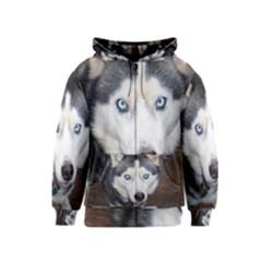 Siberian Husky Blue Eyed Kids  Zipper Hoodie