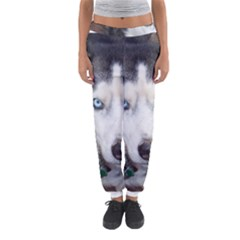 Siberian Husky Blue Eyed Women s Jogger Sweatpants