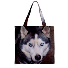 Siberian Husky Blue Eyed Zipper Grocery Tote Bag
