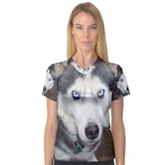 Siberian Husky Blue Eyed Women s V-Neck Sport Mesh Tee