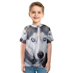 Siberian Husky Blue Eyed Kids  Sport Mesh Tee