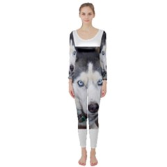 Siberian Husky Blue Eyed Long Sleeve Catsuit