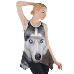 Siberian Husky Blue Eyed Side Drop Tank Tunic