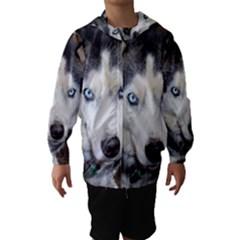Siberian Husky Blue Eyed Hooded Wind Breaker (Kids)