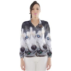 Siberian Husky Blue Eyed Wind Breaker (Women)