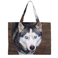 Siberian Husky Blue Eyed Large Tote Bag