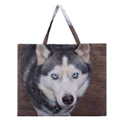 Siberian Husky Blue Eyed Zipper Large Tote Bag