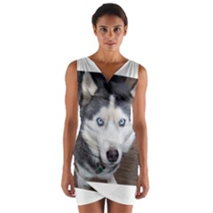 Siberian Husky Blue Eyed Wrap Front Bodycon Dress