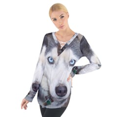 Siberian Husky Blue Eyed Women s Tie Up Tee